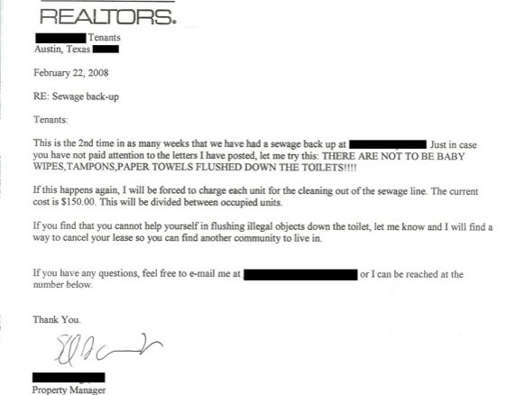 austin landlord writes angry letter about sewage
